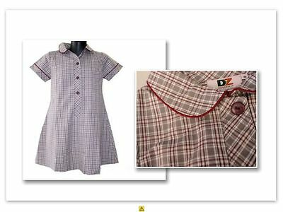 BNWT SIZE 10 CHEST 74cm GIRLS SCHOOL UNIFORM DRESS GREY MAROON CHECK DZ CUMMINS
