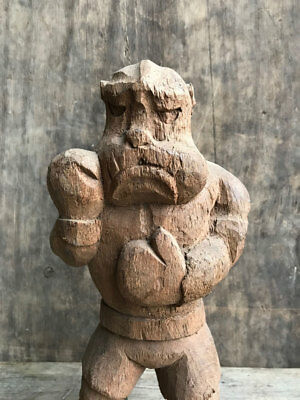 Decorative Early Carving Dog English Boxer Toy Hand Carved Wooden Figure Statue
