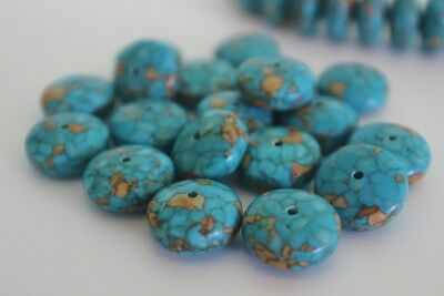 20 pce Turquoise Howlite Gemstone Abacus Beads 14mm x 8mm