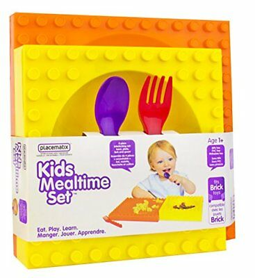 Placematix Kids 4 Piece Mealtime Set – Includes Bowl, Spoon, Fork, and Plate