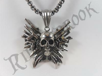 Stainless Steel skull on weapons pendant and necklace 60cm chain The Expendables