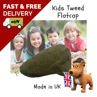 Super Quality Boys / Girls Tweed Flat Cap (baby to 10 years) Colors, UK Made