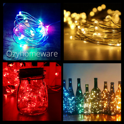 20/40/50/200 LED Battery & Plug Micro Rice Wire Copper Fairy String Lights Xmas