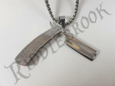 Stainless Steel cut throat razor pendant and necklace 60cm chain barber slasher