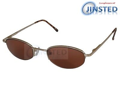 High Quality Sunglasses Brown Tinted Oval Lens with Gold Half Frame UV400 CL016