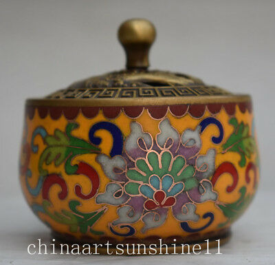 Exquisite China Home Decoration Cloisonne Incense Burner Handmade Carved Flower