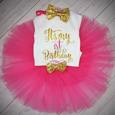 Baby girl first 1st birthday tutu outfit party dress cake smash photo shoot bow