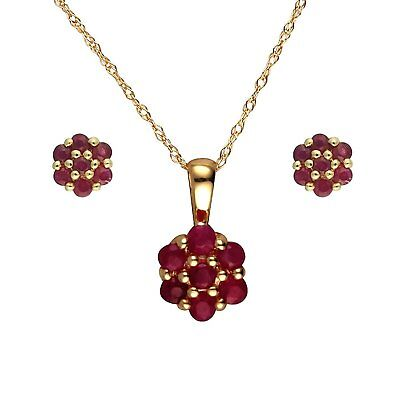 Ivy Gems 9ct Yellow Gold Ruby Cluster Earring and Pendant Jewellery Set with