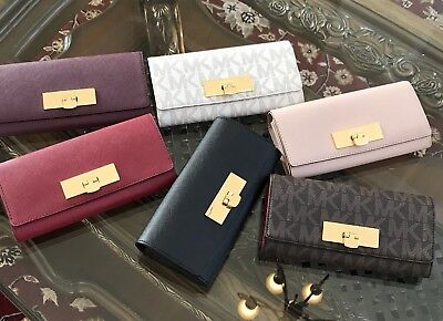963750efef91 Authentic Michael Kors Callie Carryall Saffiano Leather Clutch Wallet