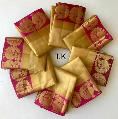 New Traditional Tussar Silk Fancy Saree Gold Party Wear Ethnic Indian Saree