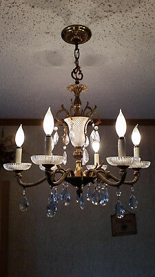 Vintage Antique 6 Light Bronze Brass Crystal Chandelier