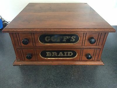 Antique Goff's Braid 2 Drawer Oak Spool Cabinet /Jewelry Chest