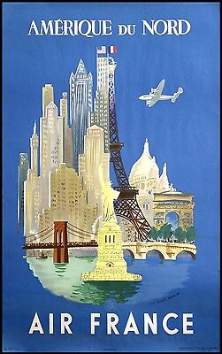 Original-Plakat Poster Werbeplakat Air France Nordamerika New York 1948