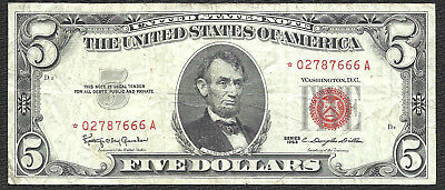 1963 $5 RED Seal *STAR* Legal Tender *UNITED STATES NOTE* Old US Paper Money!