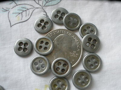 11MM Industrial metal shirt buttons 4-hole rim silver pewter color 72p 18L 7/16""