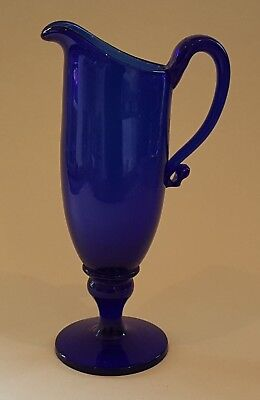 Bristol blue glass vintage pre Victorian antique helmet shaped jug