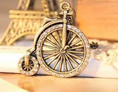 """NWT vintage style bicycle necklace, antique bronze, clear stones, long 26"""" chain"""