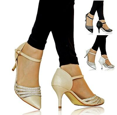 Ladies Womens Diamante Party Bridal Evening Low Mid Heel Court Shoes Size -24-77