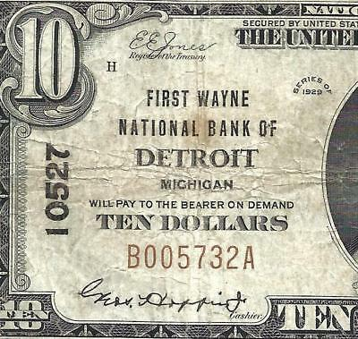 1929 $10 Brown Seal! (( DETROIT MICHIGAN )) CH# 10527 Old US National Currency!