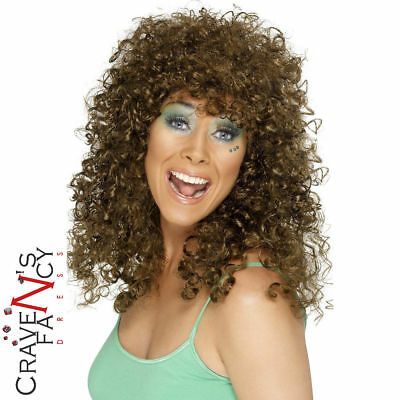 Boogie Babe Long Curly Permed Afro Brown Wig 60s 70s 80s Ladies Fancy Dress New