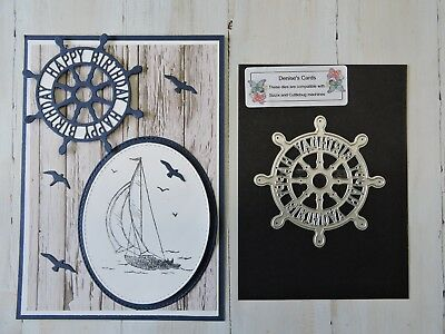 Craft Die  Ships Wheel with happy birthday