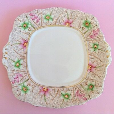 Immaculate 1950s BELL Fine Bone China Vintage English Cake Plate with Gold Trim