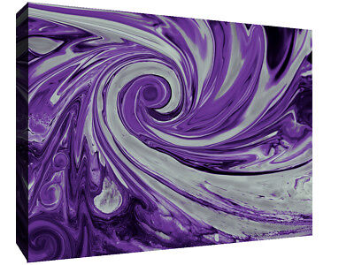 Modern Purple and Grey Spiral Swirl Abstract Canvas Wall Art Print