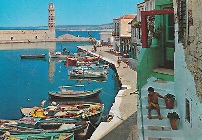 The old Harbour Rethymnon Crete Greece Postcard used VGC