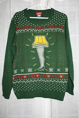 a christmas story leg lamp fragile ugly christmas sweater size medium