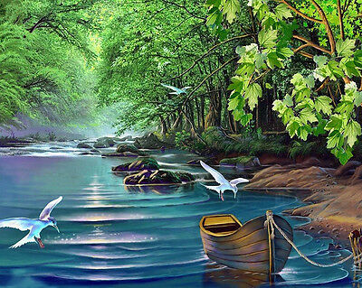 HD Art Canvas Print, Oil Painting Fast River The Tree Boat Home Decor 16x20