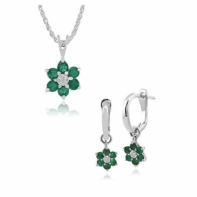 Gemondo 9ct White Gold Emerald and Diamond Floral Cluster Hoop Earrings & 45cm