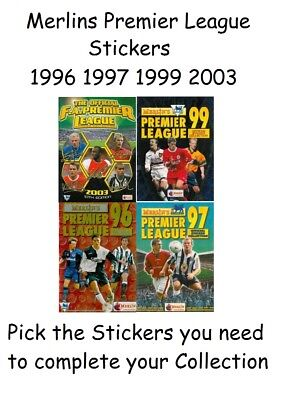 Merlin Premier League 1996 1997 1999 2003 merlins Pick the stickers you need