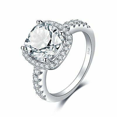 JewelryPalace Cushion 3ct Cubic Zirconia Promise Halo Solitaire Engagement Ring