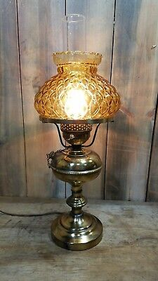 Antique Brass Lamp With Glass Shade