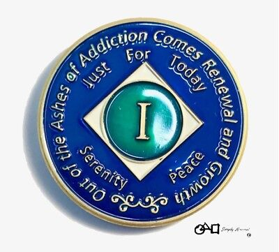 Premium Recovery NA 1 Year Clean Time Coin Narcotics Anonymous Token Medallion