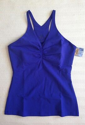 Women's New prAna Sabin Chakara Tank Top Sail Blue M VNeck Racerback Shelf Bra