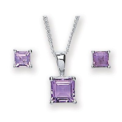 MiChic Silver Amethyst Square Pendant and Earring Set with 46 cm Chain