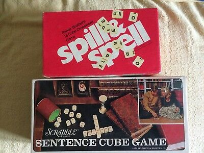 "Vintage ""Scrabble Sentence cube game"" & ""Spill & Spell"" (both incomplete)"