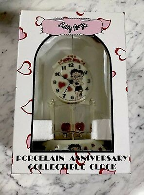 Betty Boop Porcelain Anniversary Collectible Clock Red Heart Valentines Day Gift