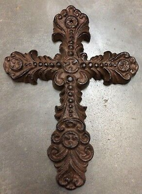 FEMININE FLEUR DE LIS CROSS, Rustic Brown Finish Cast Iron