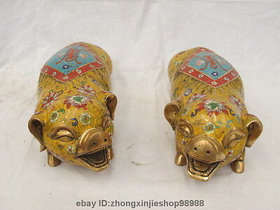 China Royal Fengshui 100% Pure bronze Cloisonne Swine Pig Palace statue pair