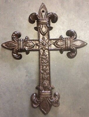FLEUR DE LIS CROSS, Antique Brown Patina Finish, for wall mounting