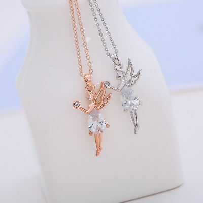 Women Rose Gold Plated Angel Girl Oval Cubic Zircon Pendant Necklace Jewelry