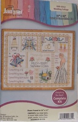 New Janlynn Needlepoint Wedding Collage Counted Cross Stitch Kit Crafts