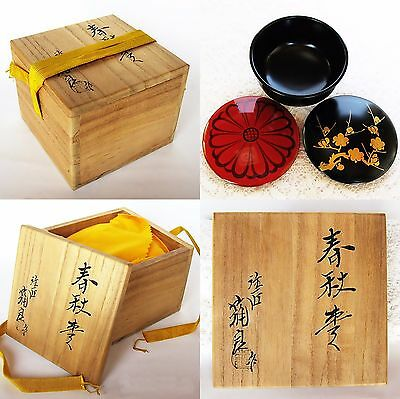 Japan lacquerware tea caddy Natsume Spring and autumn Makie tea ceremony NT17