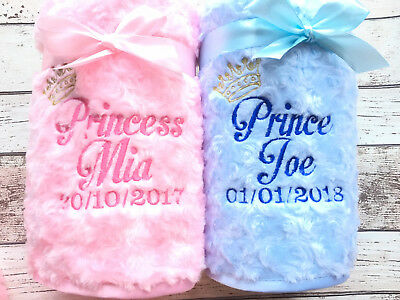 Personalised Luxury Baby Blanket Fluffy & Soft Princess Prince Embroidered Name