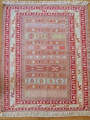 Very rare pattern handmade soumak milky colour Antique Turky, tapestry beautiful
