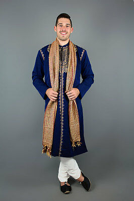 Kurta silk Indian Bollywood Sherwani Blue Regal Mens Set 3 pieces Devs Costumes