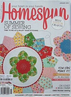 Australian Homespun Magazine No 176 January 2018 - Summer of Sewing (NEW)