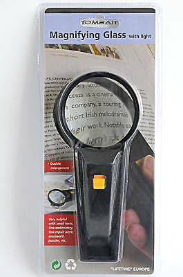 Reading magnifier with light 2 fach Magnifying glass 17cm
